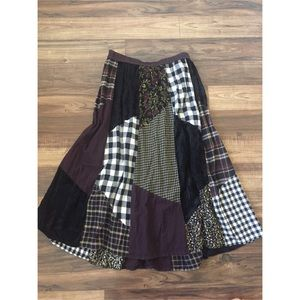 Prairie Patchwork Mixed Print Maxi Skirt